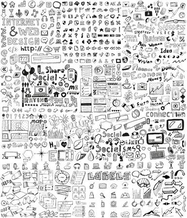ビジネス、社会、技術の巨大なセット手描きの要素いたずら書き