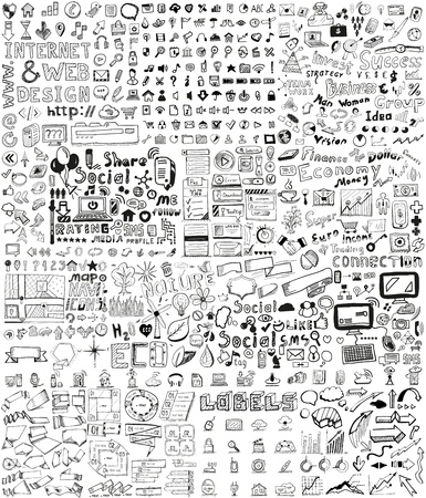 Huge set of business, social, technology hand drawn elements  doodles Ilustração