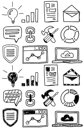 Hand drawn seo doodles / icon set Stock Vector - 20957302