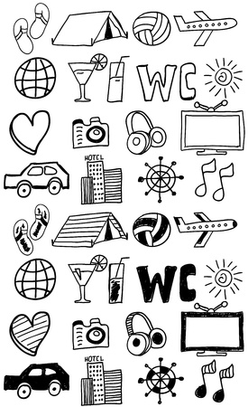 Travel icons set  doodles hand drawn Vector