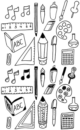 Hand drawn back to school dooldes  icons set Vector