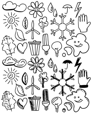 Set of black isolated environmental hand drawn doodles Vector