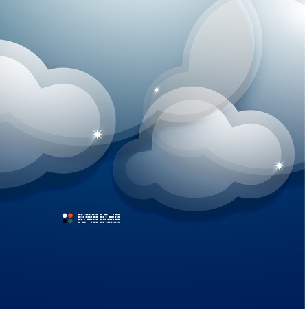 Glass 3d clouds template Vector