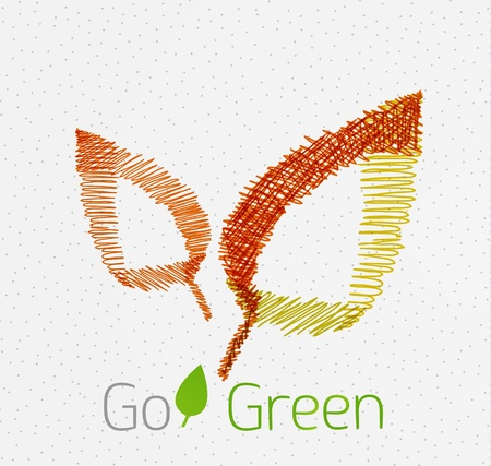 Green leaf hand drawn concept Illustration