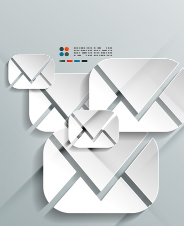3d paper envelopes design Vector