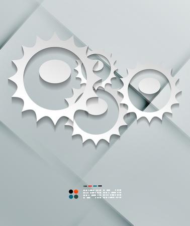 Vector paper gear modern design Vector