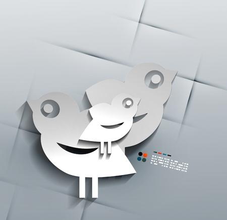 Vector 3d paper social bird design Stock Vector - 21133510