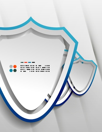 Vector protection shield modern 3d paper design Stock Vector - 21133621