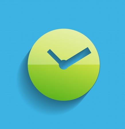 uhr icon: Uhrsymbol moderne flache Bauweise Illustration