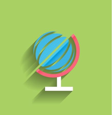 School globe flat design Vector