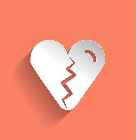 Broken heart icon flat modern design Vector