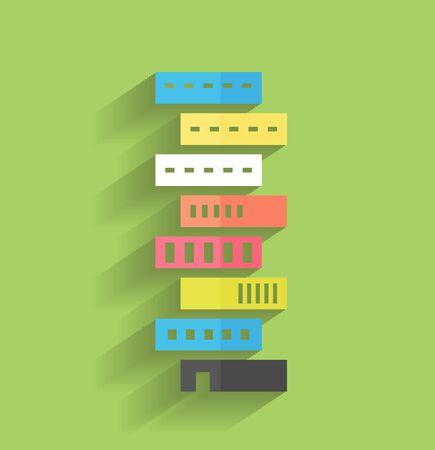 building blocks business: skyscraper icon modern flat design
