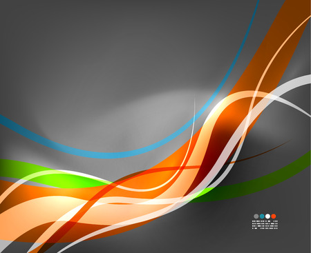 Abstract business wave lines on grey background Illustration