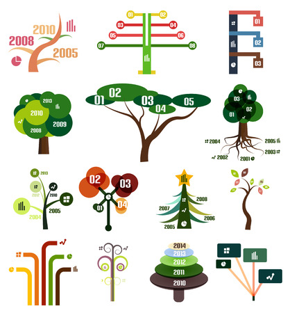Vector set of tree infographic design templates Vector