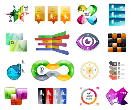 Collection of infographic templates and design elements Vector