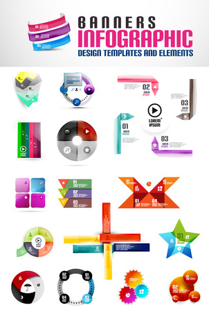 Set of geometrical banners and infographic templates Vector