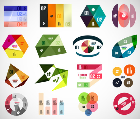 Set of geometrical infographic elements and banner templates Vector