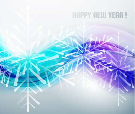 Blue business wave and Christmas snowflakes background Vector