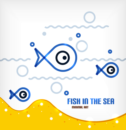 Vector sea and fish line art background Vector