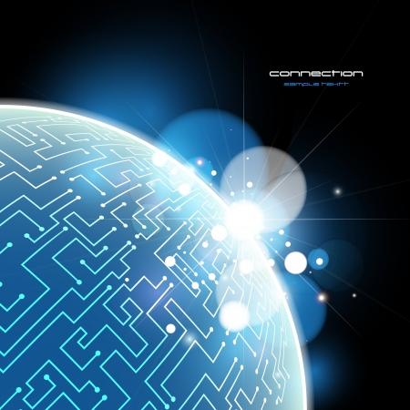 Blue Earth connection vector concept