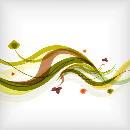 Autumn seasonal wave modern background Vector