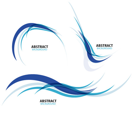 wave design: Set of flowing blue wave lines