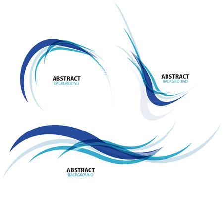 Set van vloeiende blauwe golf lijnen Stock Illustratie