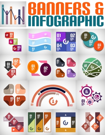 Big set of infographic banners and backgrounds Vector