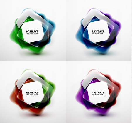 Glossy and blurred square vector banners templates set. Can be used as business background and infographics Vector