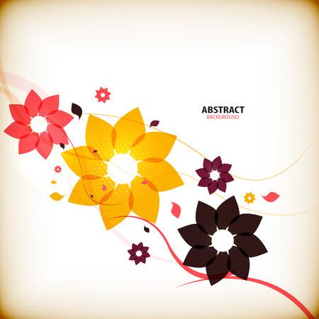 herbstblumen: Weinleseherbstblumen Natur abstrakten Hintergrund Illustration
