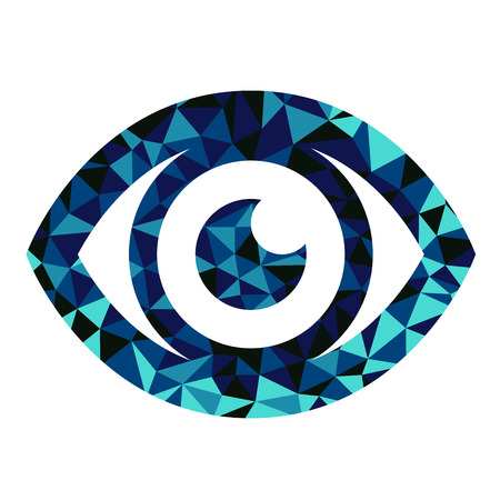 vision concept: Blue eye triangle pattern design Illustration
