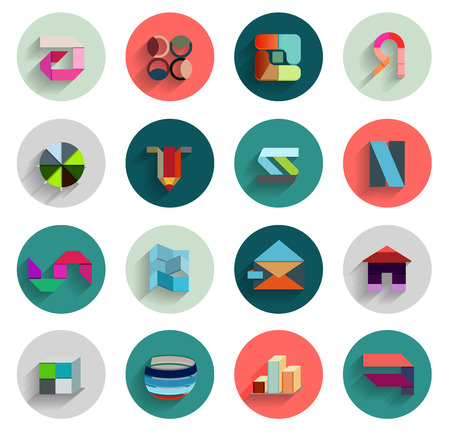 Vector set of geometric abstract flat icons. Can be used for business template  presentation Vector