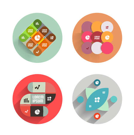 Infographic templates inside colorful circles. Set of flat icons with shadow for business  technology presentation  mobile app Vector