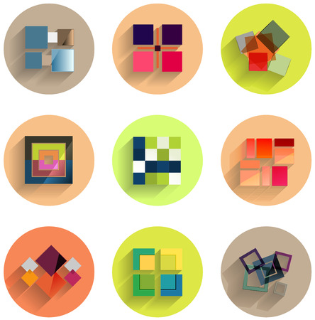 Set of abstract geometric flat icons for business  technology  infographic template Vector