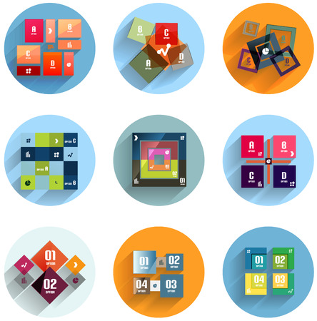 Geometric flat templates icon set for business / mobile phone / web Vector