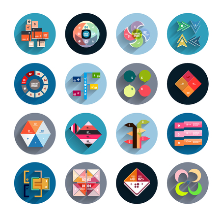 Infographic templates inside colorful circles. Set of flat icons with shadow for business  technology presentation  mobile app photo