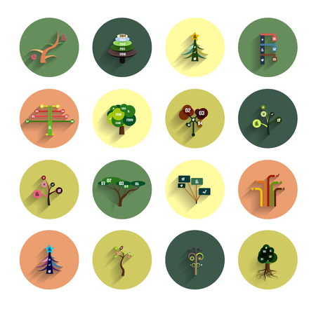 Flat eco tree infographic icon design templates Vector