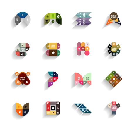 Set of 3d flat geometric abstract icons for mobile apps, business templates, web banners Vector