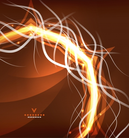 Orange lightning abstract background. Energy swirl Vector