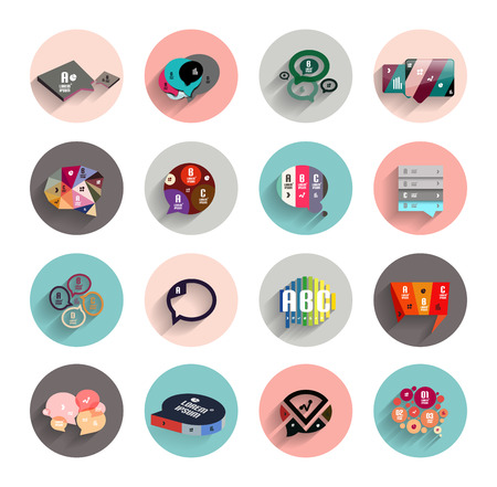mobile app: Infographic templates inside colorful circles. Set of flat icons with shadow for business  technology presentation  mobile app