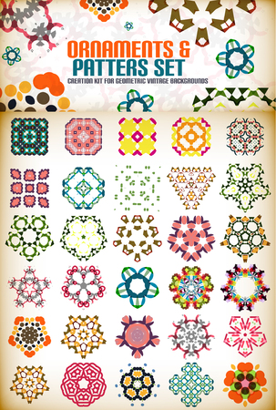 Abstract geometric vintage retro shapes for background creation. Creation kit Vector