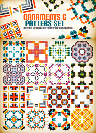 creation kit: Abstract geometric vintage retro shapes for background creation. Creation kit Illustration