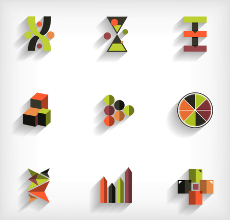 3d flat geometric abstract business icon set Stock Vector - 23462715