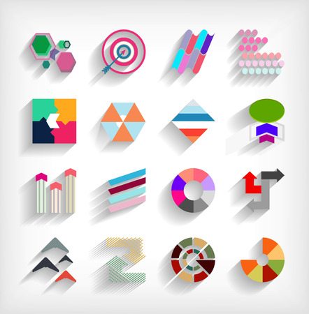 3d flat geometric abstract business icon set Stock Vector - 23462736