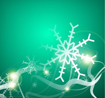 nightly: Christmas lightning abstraction - snowflakes and wave lines Illustration