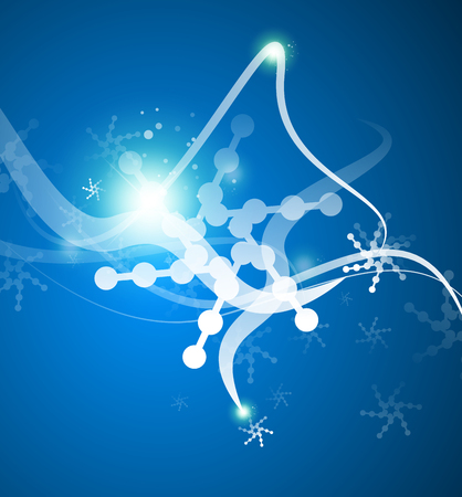 Christmas lightning abstraction - snowflakes and wave lines Vector
