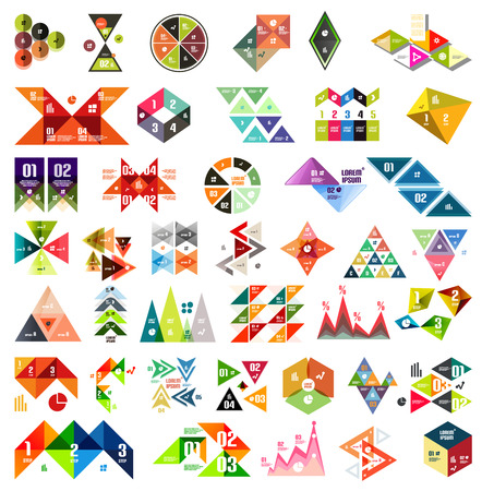 Big set of infographic modern templates - triangles and geometric shapes.  Vector