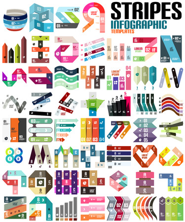 number button: Big set of infographic modern templates - stripes, ribbons, lines.