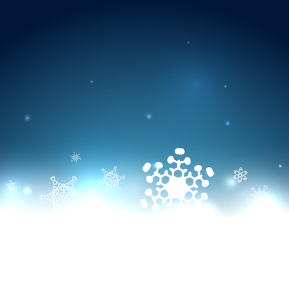 Blue snowy magic Christmas background Vector