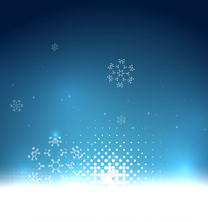 Blue magic sky and snowflakes winter background Illustration